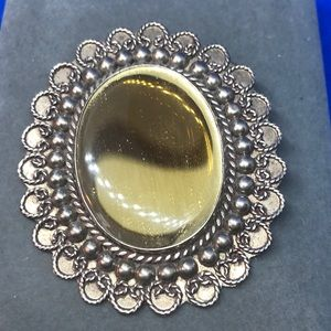 Reflective Yellow & Pewter Brooch/ Pendant.